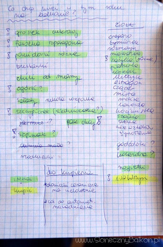 Moja tegoroczna lista w pierwszej wersji wygląda tak :)