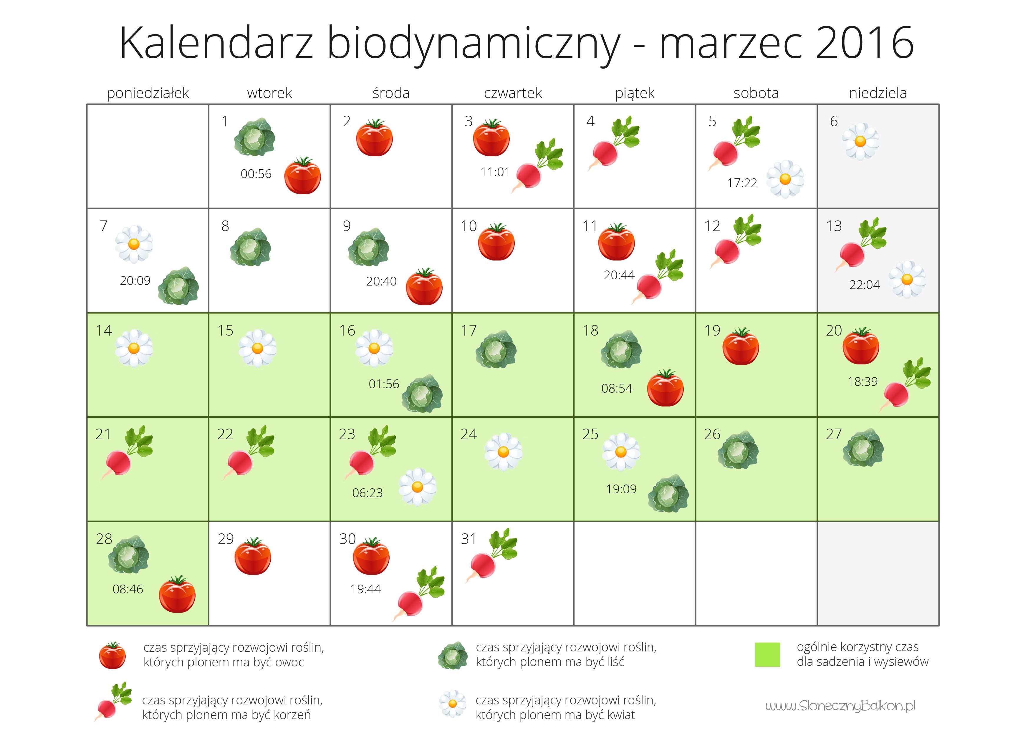 kalendarz marzec 2016